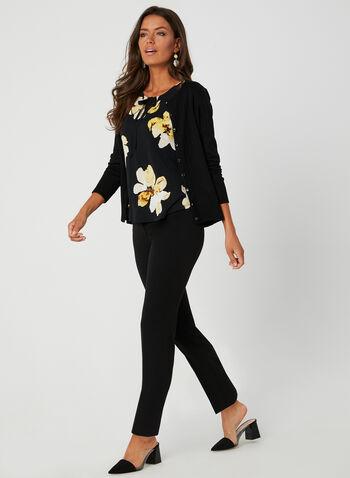 Floral Print Flutter Sleeve Top, Black, hi-res