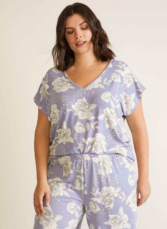 Ensemble pyjama à imprimé floral , Bleu