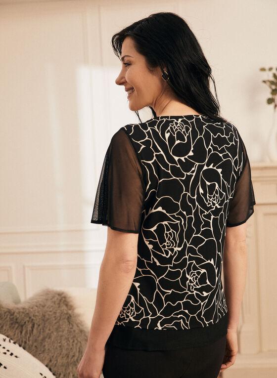 Blouse motif feuilles et détails mousseline, Noir