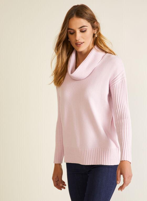 Pull en tricot à col bénitier, Rose