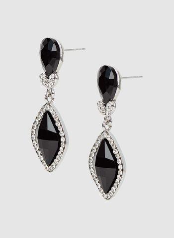 Boucles d'oreilles à pendants losange et strass, Noir, hi-res