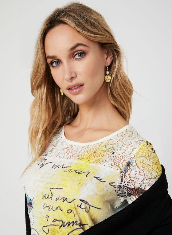 Floral Print T-Shirt, Yellow, hi-res