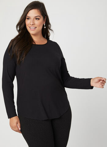 Long Sleeve Top , Black, hi-res