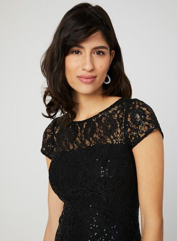 Sequin Lace Fit & Flare Dress, Black, hi-res,