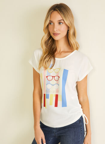 Stripe & Sunglass Print Tee, White,  t-shirt, sunglasses, stripes, drawstring, jersey, scoop neck, spring summer 2020