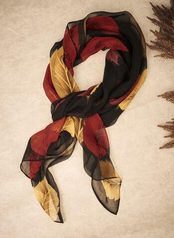 Foulard en mousseline à motif de feuilles, Noir,  automne 2021, accessoire, foulard, écharpe, chiffon, mousseline, léger, feuille, imprimé, motif, automne, automnal