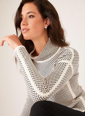 Elena Wang - Pull à col roulé motif pois, Blanc, hi-res