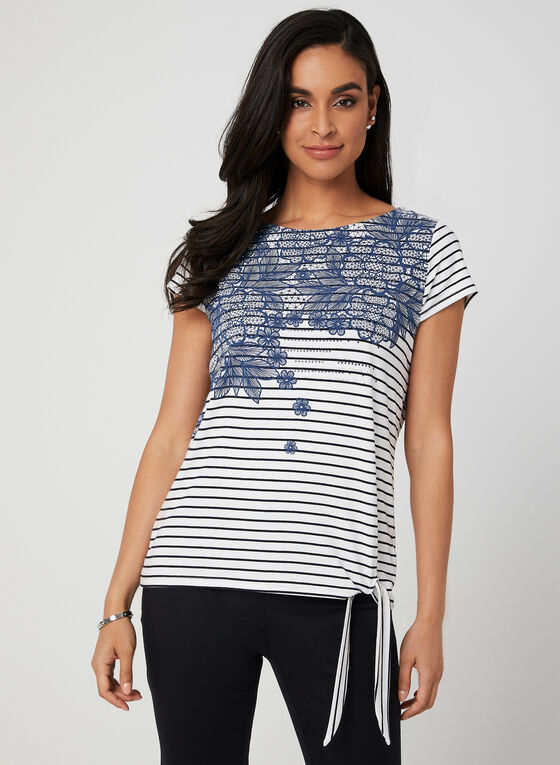 Stripe Print Tie Detail T-Shirt, Blue, hi-res