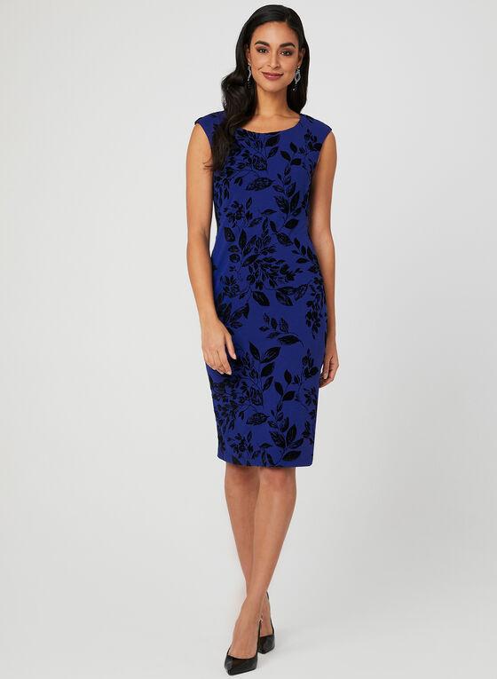 Velour Floral Print Scuba Dress, Blue, hi-res