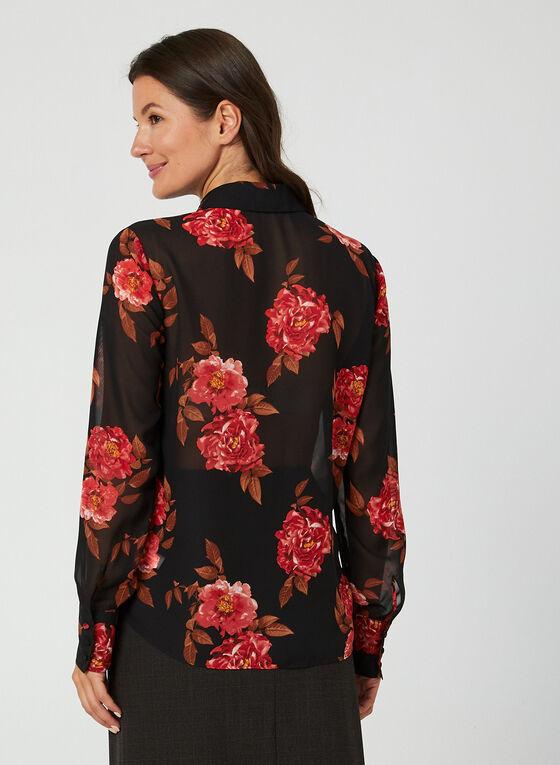 Floral Print Chiffon Blouse, Black