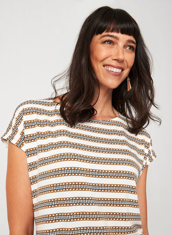 Short Sleeve Chain Print Top, White, hi-res,  canada, short sleeves, drop shoulder, scoop neck, chain print, houndstooth, stripe print, viscose, fall 2019, winter 2019