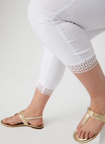 Pantalon coupe cité à détail crochet, Blanc, hi-res,  pantalon, pull-on, cité, bengaline, crochet, printemps 2019