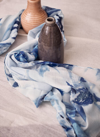 Floral Print Scarf, Blue,  Spring summer 2021, accessories, accessory, print, floral, flowers, fray, scarf, metallic fibers, oblong