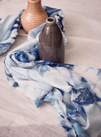 Foulard à imprimé floral et détails métalliques, Bleu,  foulard, printemps été 2021, imprimé floral, tissu léger, oblongue, insertion métallique