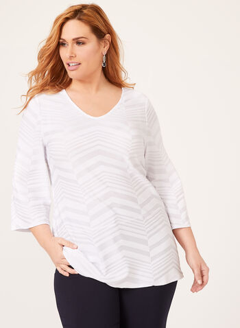 Chevron Jersey Top, Off White, hi-res