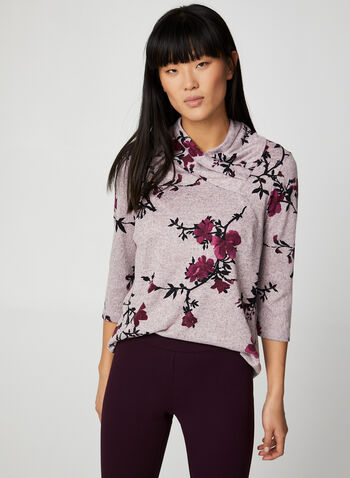 Floral Garden Print Top, Multi,  canada, top, floral print, printed top, floral print top, 3/4 sleeves, comfortable, fall 2019, winter 2019