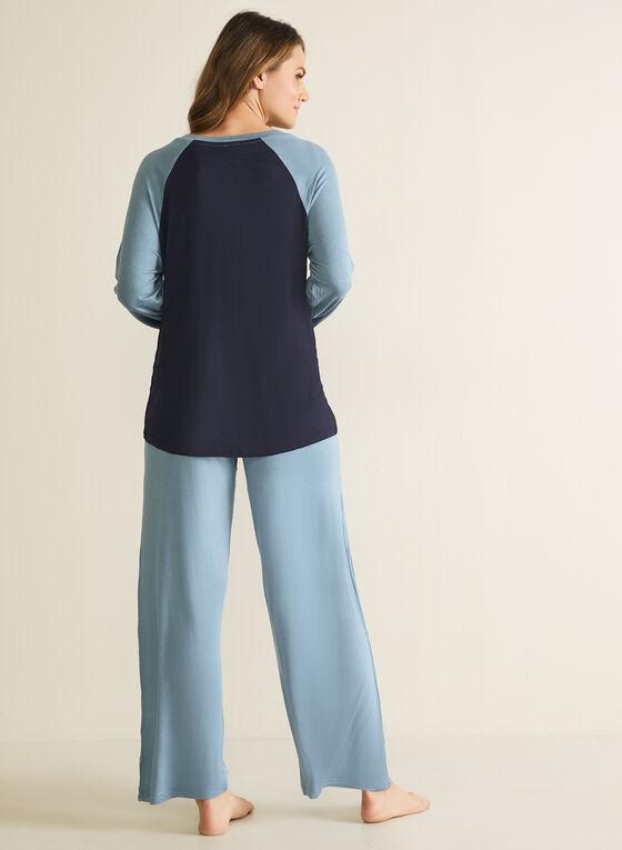 Ensemble pyjama à blocs de couleur , Bleu