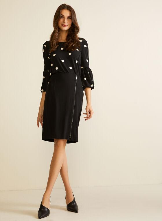 Polka Dot Print Bell Sleeve Top, Black