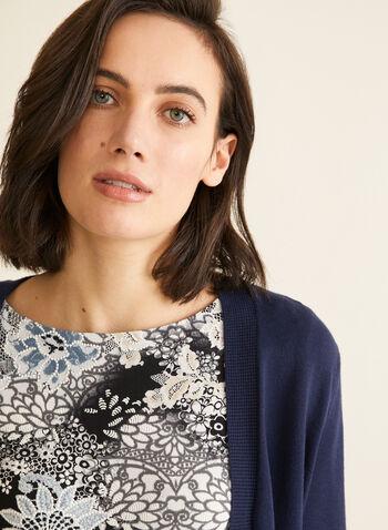 Waffle Knit Detail Bolero, Blue,  bolero, open, 3/4 sleeves, waffle knit, spring summer 2020