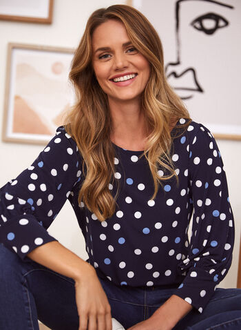 Polka Dot Print Top, Blue,  fall winter 2021, made in Canada, boat neck, scoop neck, top, blouse, 3/4 sleeve, balloon sleeve, rounded hem, polka dot, dot print