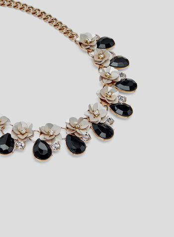 Floral Teardrop Collar Necklace, Black, hi-res