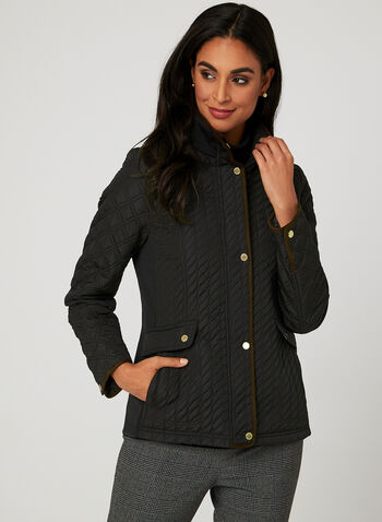 Weatherproof - Lightweight Quilted Coat, Black, hi-res