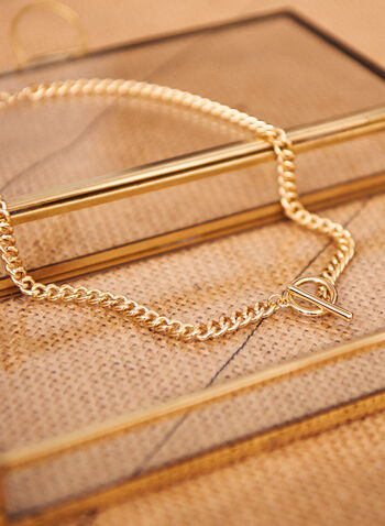 Short Link Necklace, Gold,  spring summer 2021, accessories, accessory, necklace, chain, gold, links, toggle front hoop, ring and bar