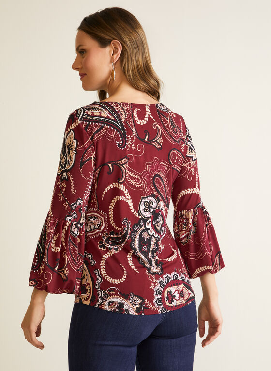 Paisley Top With Puffed Sleeves, Red
