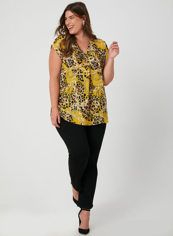 Mixed Print Blouse, Yellow, hi-res,  short sleeves, chain link print, leopard print, animal print,