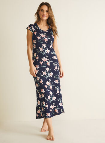 Floral Print Cap Sleeve Nightgown, Blue,  pyjamas, sleepwear, nightgown, floral print, cap sleeves, scoop neck, fall winter 2020