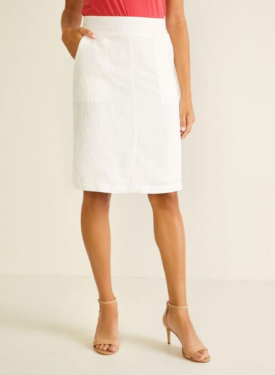 Linen Blend Straight Skirt, White