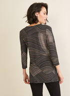 Geometric Print Tunic Top, Black
