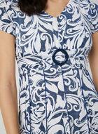 Robe ajustée et évasée à imprimé texturé, Bleu, hi-res