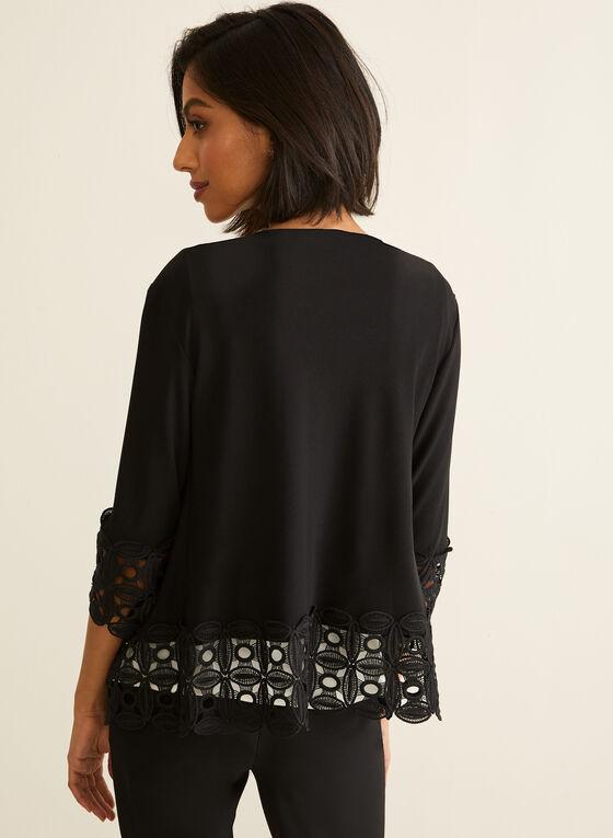 Crochet Open Front Top, Black