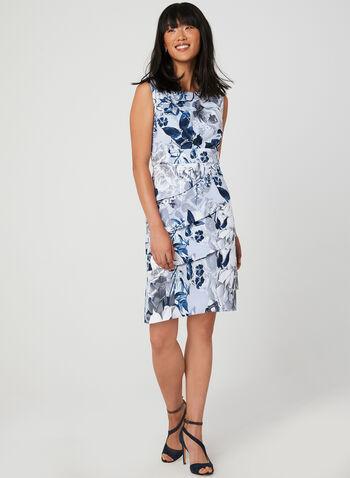 Robe ajustée à imprimé floral, Argent,  étagée, sans manches, encolure ronde, fleurs, fleuri, motif, motifs, automne hiver 2019