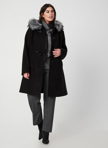Manteau à col en fausse fourrure, Noir, hi-res,  manteau, mi-long, capuchon, fausse fourrure, mousqueton, automne hiver 2019