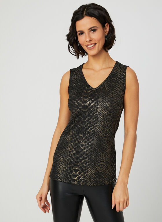 Vex - Snake Print Sleeveless Top, Black, hi-res