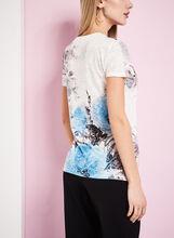 T-shirt à fleurs et brillants avec transparence, Bleu, hi-res