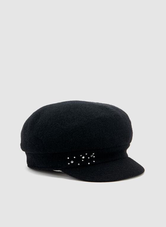 Casquette gavroche à détails cristaux, Noir, hi-res