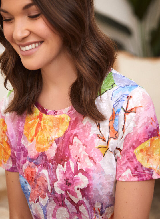 Abstract Floral Print Burnout Tee, Red