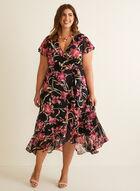 Joseph Ribkoff - Floral Print Wrap Side Dress, Black