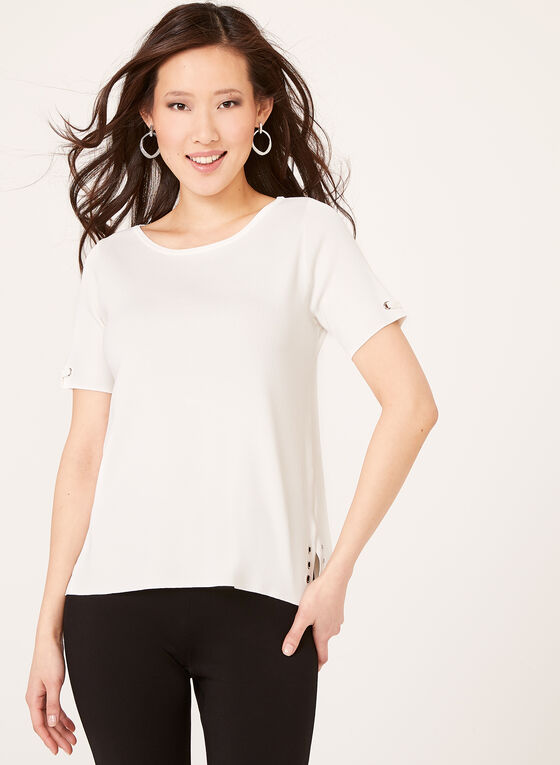 Grommet Detail Knit Sweater, Off White, hi-res