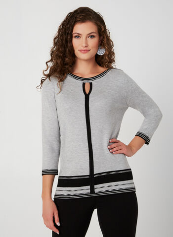 Contrast Trim Sweater, Grey,  fall winter 2019, knit fabric, 3/4 sleeves