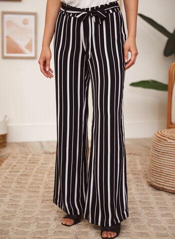 Charlie B - Pantalon à rayures avec ceinture à nouer, Noir,  pantalon, à enfiler, jambe large, ganses pour ceinture, ceinture à nouer, poches, motif, rayures verticales, printemps été 2021