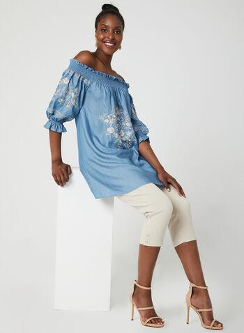 Embroidered Off The Shoulder Tunic, Blue, hi-res,  light denim shirt, denim blouse, denim top, embroidered top, blouse, tunic, light cotton