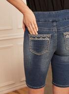 Embellished Pull-On Capri Shorts, Blue