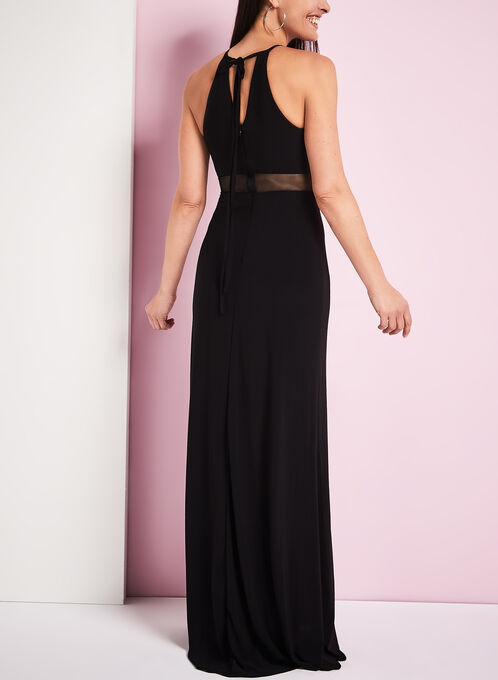 Jersey Floral Appliqué Halter Neck Gown, Black, hi-res