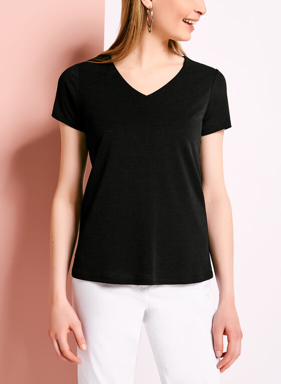 Double Layer V-Neck Knit Top, Black, hi-res