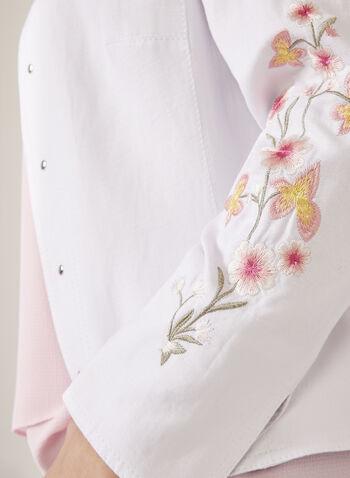 Veste ouverte avec détails rivets et broderies florales, Blanc, hi-res