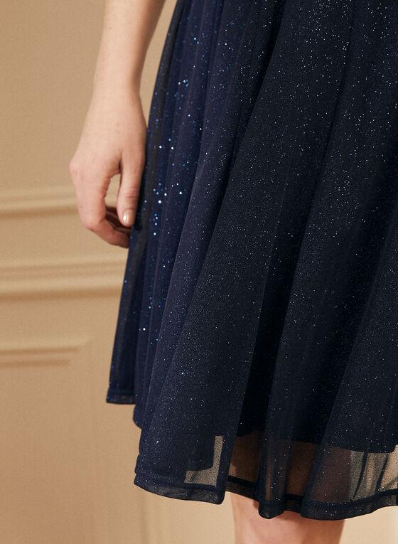Glitter Mesh Capelet Dress, Blue